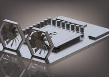Cartão-matriz e processador prateados em um cinza imagens de stock royalty free