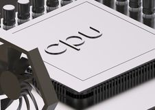 Cartão-matriz e processador prateados em um cinza foto de stock