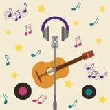 Cartão musical com guitarra Foto de Stock