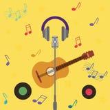 Cartão musical com guitarra Fotos de Stock