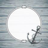 Cartão náutico com quadro da corda e da âncora Fotografia de Stock