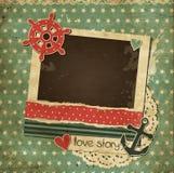 Cartão náutico da sucata do vintage com quadro da foto Imagens de Stock