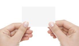 Cartão na mão da mulher Fotografia de Stock Royalty Free