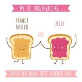 Cartão nacional incomum bonito do dia dos melhores amigos como mão engraçada personagens de banda desenhada tirados e o texto esc Imagem de Stock Royalty Free