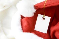 Cartão no chapéu de Santa Fotografia de Stock