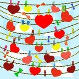Cartão no dia de são valentim com muitos corações sobre Foto de Stock