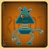 Cartão no estilo retro com o robô ilustração do vetor