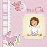 Cartão novo do anúncio do bebé com menina Fotografia de Stock Royalty Free