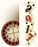 Cartão novo do convite do casino de 2017 anos com elementos do pôquer Imagem de Stock Royalty Free