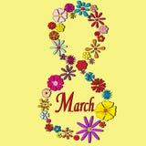 Cartão o 8 de março com flores ilustração royalty free