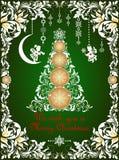 Cartão ornamentado do Natal do verde do ofício com beira cortada de papel floral, anjos de papel feitos a mão de suspensão e tre  ilustração royalty free