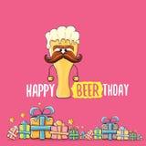 Cartão ou cópia feliz do vetor de Beerthday Cartaz feliz da celebração da festa de anos com caráter funky da cerveja e ilustração do vetor