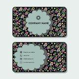 Cartão ou cartão de visita com anéis e círculos coloridos Imagens de Stock