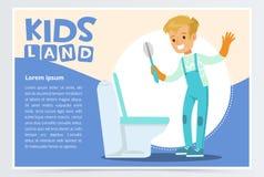 Cartão ou cartaz azul com o menino novo bonito nas luvas que limpam o toalete com a escova Caçoe fazer uma limpeza home, tarefas  ilustração stock