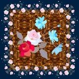 Cartão ou guardanapo com o ramalhete bonito das rosas e de flores azuis ensolaradas do cosmos no fundo marrom ornamentado Ilustra ilustração stock