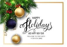 Cartão para cartões do inverno boas festas com refeição matinal da árvore de abeto e 3D Baloons Fotos de Stock