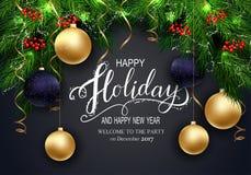Cartão para cartões do inverno boas festas com refeição matinal da árvore de abeto e 3D Baloons Foto de Stock