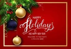 Cartão para cartões do inverno boas festas com refeição matinal da árvore de abeto e 3D Baloons Fotografia de Stock