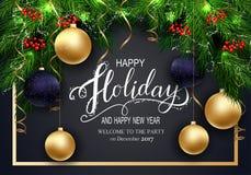 Cartão para cartões do inverno boas festas com refeição matinal da árvore de abeto e 3D Baloons Foto de Stock Royalty Free