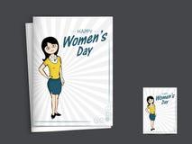 Cartão para a celebração do dia das mulheres internacionais Fotos de Stock