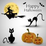 Cartão para Dia das Bruxas com abóbora, o gato preto e os bastões ilustração stock