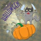 Cartão para Dia das Bruxas, gato engraçado que está na abóbora ilustração do vetor