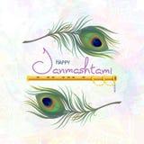Cartão para Janmashtami feliz Imagens de Stock