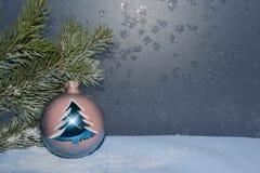 Cartão para o ano novo ou o Natal Fotos de Stock Royalty Free