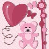 Cartão para o bebê com urso de peluche Imagens de Stock Royalty Free