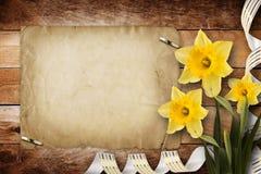 Cartão para o convite com o ramalhete do narciso das flores Fotografia de Stock Royalty Free