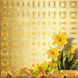 Cartão para o convite com o ramalhete do narciso das flores Imagens de Stock Royalty Free