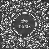 Cartão para o dia da ação de graças no quadro-negro Imagens de Stock