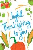 Cartão para o dia da ação de graças Vegetais e ação de graças alegre do ` da inscrição a você ` Molde da ilustração do vetor ilustração do vetor