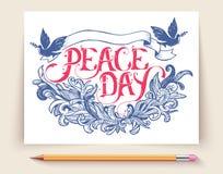 Cartão para o dia da paz do feriado Caligrafia com ilustração abstrata do ornamento da decoração Molde para o convite Foto de Stock Royalty Free