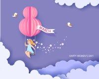 Cartão para o dia das mulheres do 8 de março Mulher no teeterboard ilustração royalty free