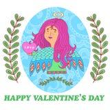 Cartão para o dia de Valentim com uma menina doce do anjo ilustração stock
