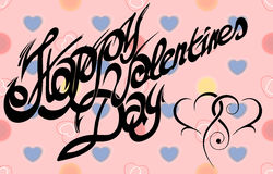 Cartão para o dia de Valentim, fonte caligráfica, feito a mão Fotos de Stock Royalty Free
