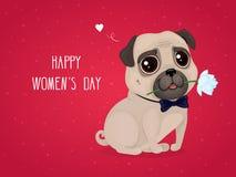 Cartão para o dia do ` s das mulheres com um pug bonito ilustração royalty free