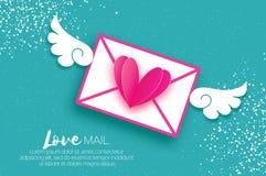 Cartão para o dia do `s do Valentim Envie o amor e o envelope no estilo do corte do papel Coração cor-de-rosa do origâmi Angel Wi ilustração stock