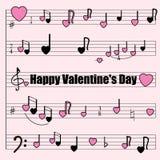 Cartão para o dia do ` s do Valentim: um moinho musical com notas estilizados, violino e chaves do baixo, corações Fotos de Stock Royalty Free