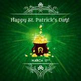 Cartão para o dia do St. Patricks com texto e potenciômetro com g Fotos de Stock