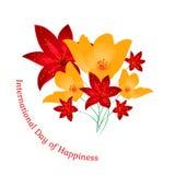 Cartão para o dia internacional da felicidade Fotografia de Stock Royalty Free