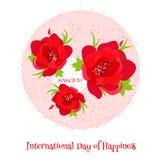 Cartão para o dia internacional da felicidade Fotos de Stock Royalty Free