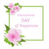 Cartão para o dia internacional da felicidade Imagens de Stock Royalty Free
