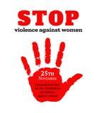 Cartão para o dia internacional para a eliminação da violência contra mulheres Handprint fêmea vermelho Ilustração do vetor ilustração stock