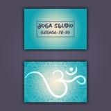 Cartão para o estúdio da ioga ou o instrutor da ioga Origem étnica com ornamento e ohm da mandala Imagem de Stock Royalty Free