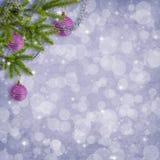 Cartão para o feriado com filiais e esferas Fotos de Stock