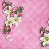 Cartão para o feriado com flores Fotografia de Stock