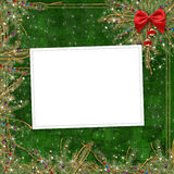 Cartão para o feriado, com uma fita vermelha Imagem de Stock