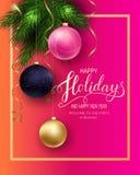 Cartão para o inverno boas festas foto de stock